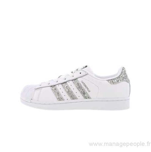Baskets Femme Adidas Superstar White Metallic Silver Glitter