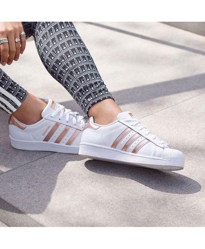 White & Rose Gold Adidas Superstar Trainers Online &C80Tgb